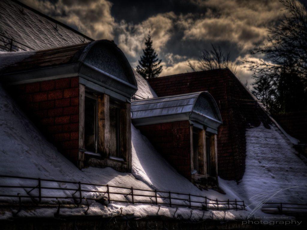 Snowy roof windows