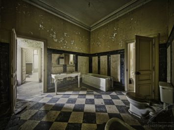 Sunshine on the Loo - One of the bathrooms in the Château Lumière, an abandoned villa / mansion in Alsace, France