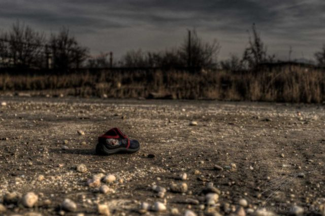 Lost Shoe - A lost shoe in an old, abandoned industrial area outside Brașov, Romania