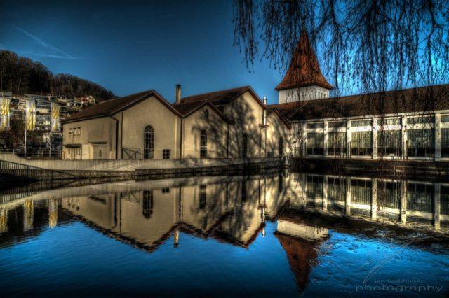 Blue Mirroe - The water above the hydro electric pwoer plant in Aarau, Switzerland