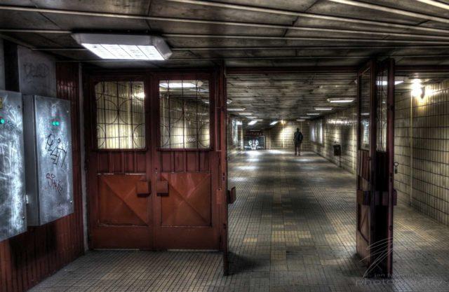 Entrance - An entrance to the metro / subway in Bucharest, Romanaia