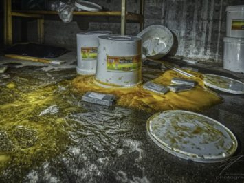 Spilled - Buckets of mayonnaise spilled in the basement of an abandoned Jewish Talmud school in Switzerland, Schweiz