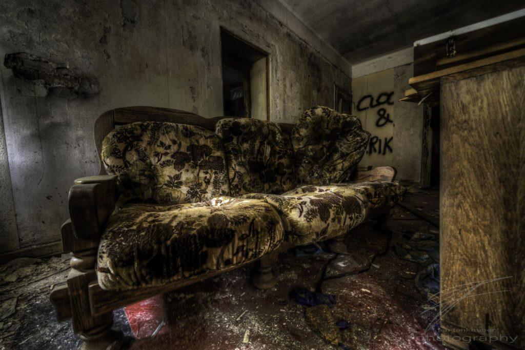 My Sofa - In the CLinique du Diable, an abandoned clinique / hotel / sanatorium in Alsace, France