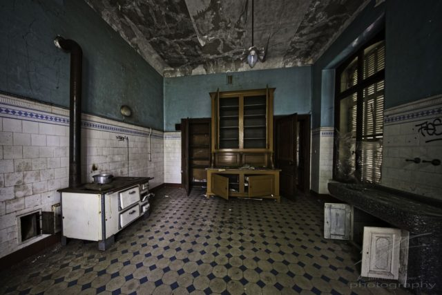 In the Kitchen - The kitchen of the Château Lumière, an abandoned villa / mansion in Alsace, France