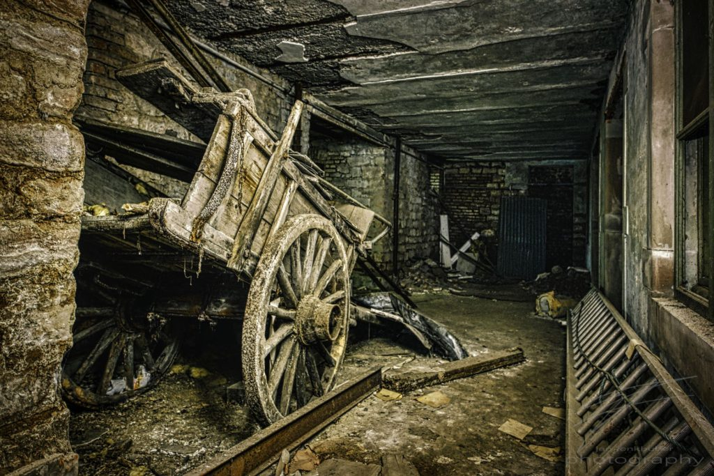 Laid in Wheels - A carriage in the basement of the Château Lumière
